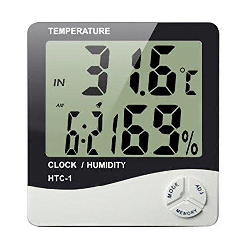 Yokins Digital Hygrometer Temperature and Humidity Meter with clock Big LCD Display HTC-1
