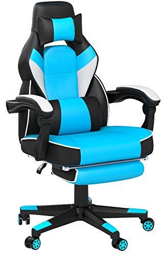 IntimaTe WM Heart Sedia Gaming con la Schienale Alta, Sedia da Gioco ergonomica, Sedia Girevole in Pelle Premium, con i Cuscini Testa e Lombare, la Sedia con la poggia Piedi, Blu