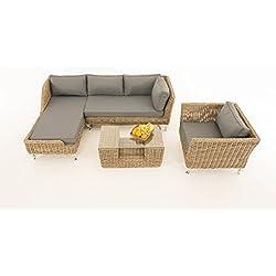 Sofa-Garnitur CP055, Lounge-Set Gartengarnitur, Poly-Rattan ~ Kissen eisengrau, natur