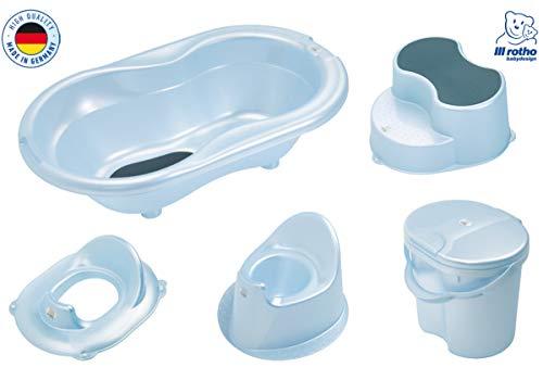 Rotho Baby Badeset Badewanne Töpfchen Schemel Eimer WC-Sitz (Blue-Perl)