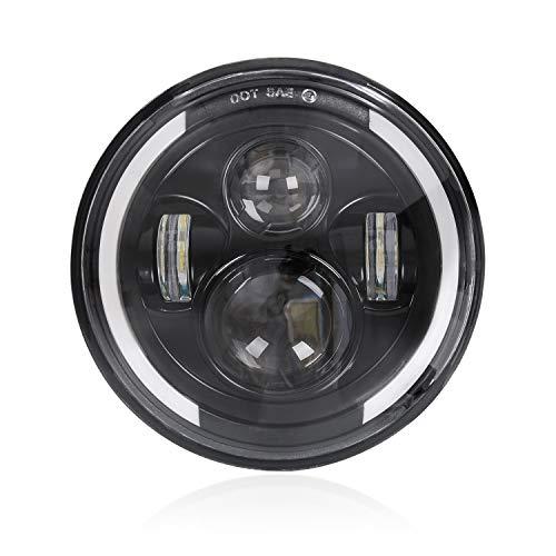 """7\"""" Runder LED-Scheinwerfer, 75W Wasserdichter Angel Eye Ring DRL & Bernsteinfarbener Blinker H/L-Strahl für Wrangler Harley Davidson"""