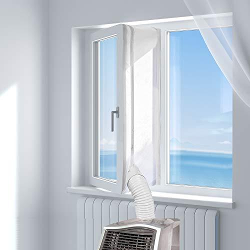 HOOMEE 400CM Tissu De Calfeutrage De Fenêtres pour Climatiseur Portatif Et Sèche-Linge - Fonctionne avec Toutes Les Unités De Climatisation Mobiles, Installation Facile