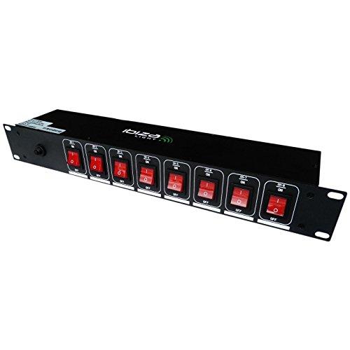 Ibiza Lc806S presa elettrica multipla ciabatta (8 canali, 3000 Watt, adatta a montaggio rack), nero