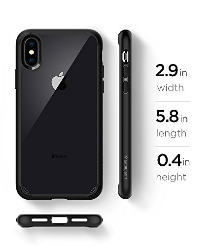 Spigen Ultra Hybrid Cover iPhone X, 5.8 inch Cover iPhone Xs con tecnologia Air Cushion e Protezione da goccia ibrida per Apple iPhone X (2017) / iPhone Xs (2018) – Matte Black – 057CS22129