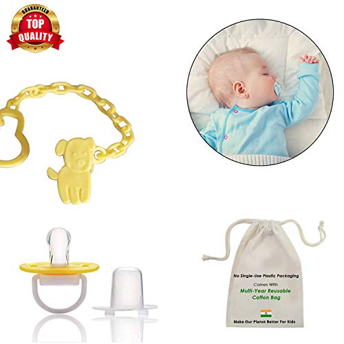 Safe-O-Kid Animal Design Silicone Pacifier/Soother with Holder Chain and Clip, Yellow Dog