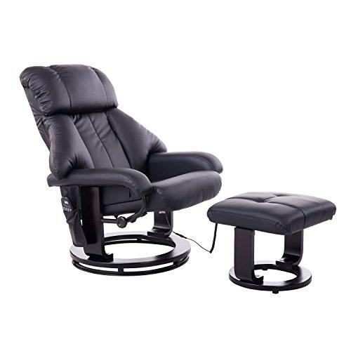 Homcom Massagesessel Fernsehsessel Sessel mit Hocker Massage mit Wärmefunktion und Vibration schwarz
