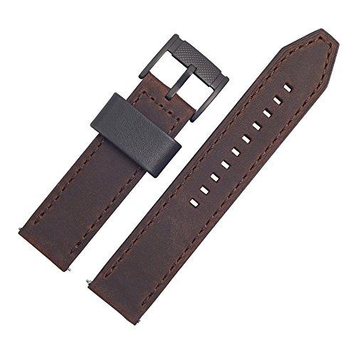 Fossil, cinturino per orologio, 22mm, in pelle color marrone,set cinturino FS 4656