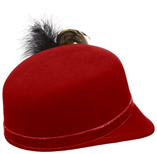 Alpenflüstern Damen Trachten-Filzkappe Trachtenhut Alessa mit Herzfeder, Rot (Rot 20), 55/57 cm (Herstellergröße: Medium) - 2