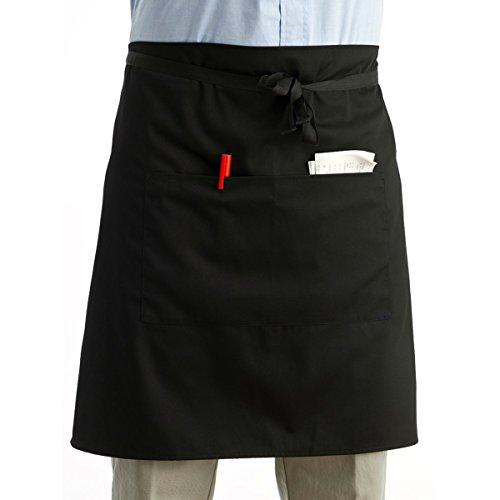 LEORX Delantal de cintura cocina cocina delantal de camarero corto delantal con bolsillos dobles (negro)