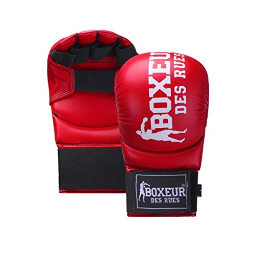 BOXEUR DES RUES Serie Fight Activewear, Guanti da Karate E Fit-Boxing Unisex Adulto, Rosso, M