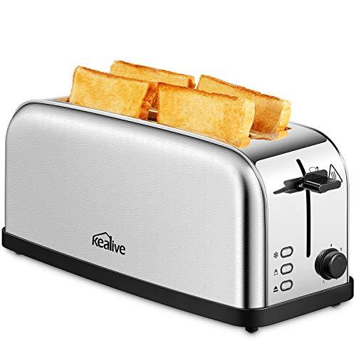 Kealive Automatik-Toaster, 2 Langschlitze, 4 Brotscheiben, 7 Bräunungsstufen, Brotzentrierung, Auftau/Aufwärm, Krümelschublade, 1500W, Edelstahl/Silber