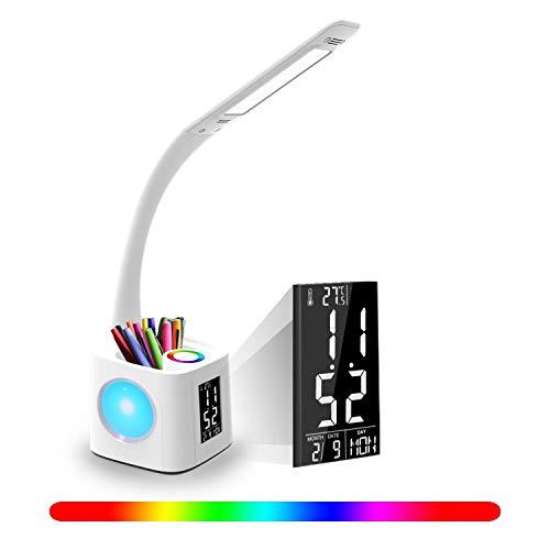 Schreibtischlampe für Kinder LED Dimmbare Nachttischlampe mit Touch Control, Nachtlicht, LCD Display, 3 Helligkeitsstufen und RGB 256 Farblicht für Kinderzimmer, Büro, Haus, Arbeit
