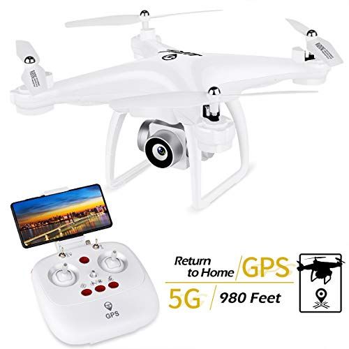 JJRC JJPRO GPS Drone, H68G RC Drone con videocamera HD 720P Video live 5G WiFi FPV Quadcopter con distanza di controllo 300m, Follow Me, Smart Return Home Modalità senza testa 3D Flip RTF (bianco)