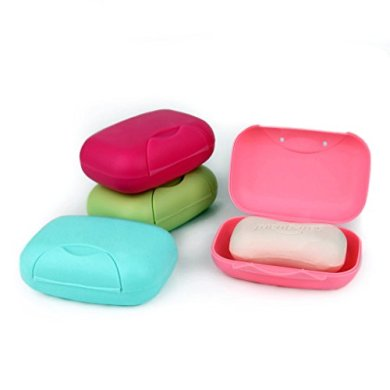 Zollyss 4 Colors Travel Handmade soap Box soap case Dishes Waterproof Leakproof soap Box with Lock Box Cover- Set of 2 Pcs 29