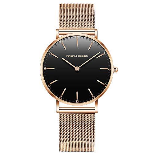 Pagani Design Uhr für Damen Edelstahl wasserdichte Uhr Damenuhr mit analogem Quarz PD-1801L-Goldenes Armband mit schwarzem Zifferblatt