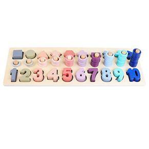Bloques de madera reloj juguetes, preescolar Montessori juguetes con forma geométrica de cognición Encounter bebé enseñar matemáticas juguetes para niños