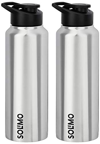 Amazon Brand - Solimo Steel Water Bottles with Flip Top Cap (Set of 2, 750ml, straight pattern )