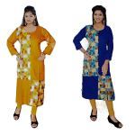Set of 2 - (Womens Cotton Churidar Tops Readymade Kurta and Kurtis- with all Sizes)_FREE DELIVERY with FREE GIFT