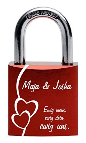 Gravurenalarm Liebesschloss rot mit individueller Gravur - 2 Schlüssel - inkl. Samtsäckchen