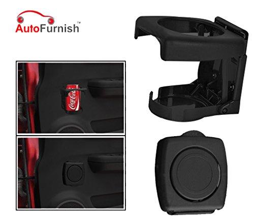 Autofurnish Foldable Car Drink/Can/Glass/Bottle Holder (Black)