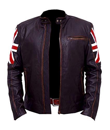 Dunhill Leather Occasioni per Uomo, Donna Biker Vintage Giacca Moto Marrone da Moto con Bandiera Britannica su Manica 2XL