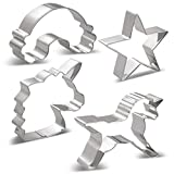 KENIAO Einhorn Keksausstecher Set Plätzchen Ausstechformen - 6 Stück - Einhornkopf Groß/Mittel/Klein, Einhorn, Regenbogen & Star - Edelstahl