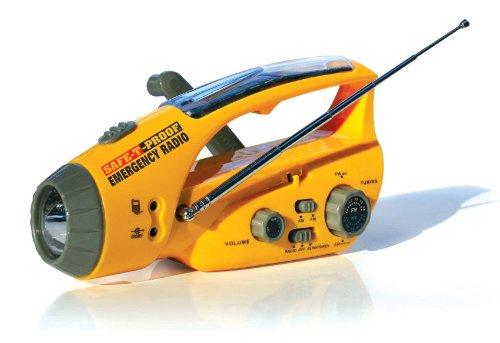 Safe-T-Proof Solar Hand-Crank Emergency Radio Flashlight Beacon Cell Phone Charger