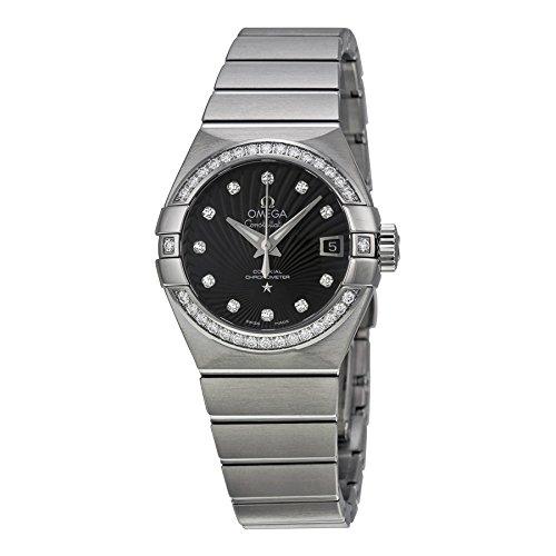 Omega Sternbild Schwarz Zifferblatt Edelstahl Stahl Damen Watch 123.15.27.20.51.001