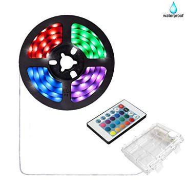 2m Ruban LED à piles avec télécommande à 24 touches et boîtier de batterie, Bande d'éclairage multicolore étanche RGB 5050 pour décoration intérieure et extérieure de la maison de Noël