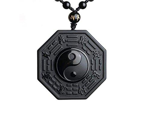 'Collana e ciondolo scolpito 'Yin & Yang in ossidiana nera