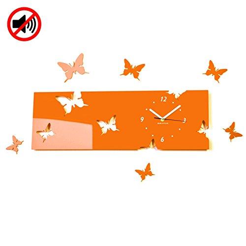 FLEXISTYLE Grande Orologio da Parete Salotto Moderno Farfalle Orizzontale Arancione Decorativo Silenzioso 20 x 60 cm