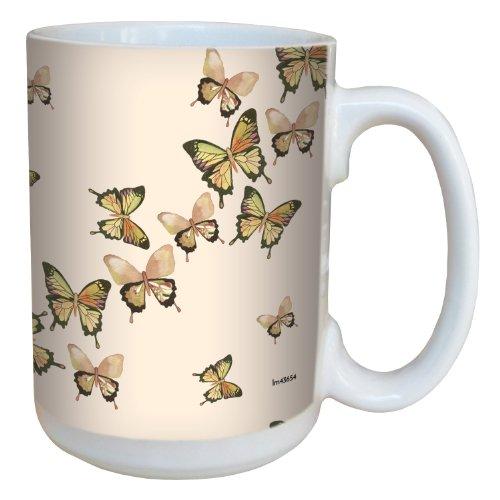 Tree-Free Greetings Árbol de-Free lm43654 15 oz de Mariposas de felicitación IOTA Illustration in Flight Taza de cerámica con Mango Completo