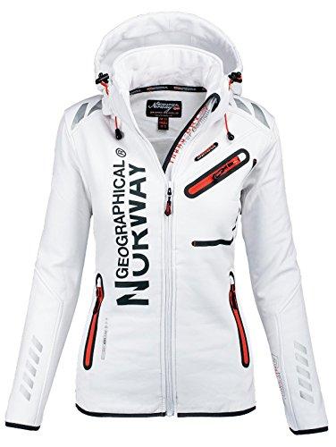 Geographical Norway, Giacca da donna, multifunzione, impermeabile e sportiva bianco XL
