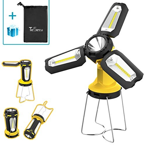 Tesecu Lanterna da Campeggio Torcia Lanterna LED 3 in 1, Lampada Ricaricabile USB Portatile...