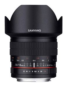 Samyang F1120401101 - Objetivo fotográfico DSLR para Canon EF (distancia focal fija 10mm, apertura f/2.8-22 ED AS NCS CS), negro