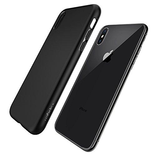 Spigen 057CS22119 Custodia con protezione sottile e TPU flessibile per Apple iPhone X, Nero opaco (Matte Black)
