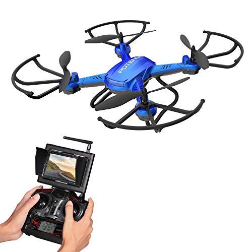 Potensic Drone con Fotocamera 720P HD Drone F181DH FPV LCD Monitore a Schermo con Funzione di Sospensione Altitudine, modalità Senza Testa, Allarme di Fuori Portata