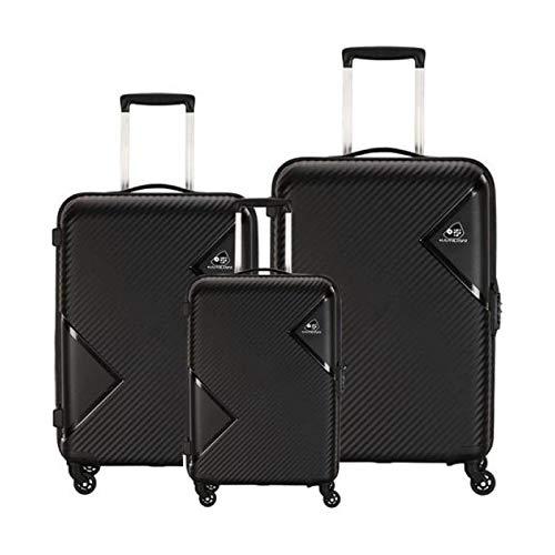 KAMILIANT by American TOURISTER KAM Zakk (Set of 3 Pieces) Small Medium and Large Polypropylene 4W HARDSIDED Luggage (Dark Black)