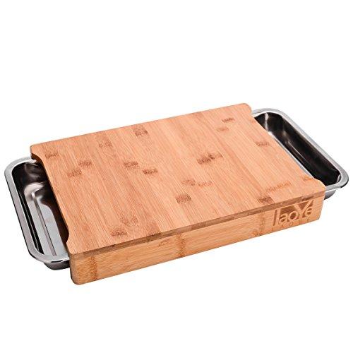 LAOYE Schneidebrett mit Auffangschale/Schubladen, Schneidebrett aus Bambus, Schneidebrett Set inkl. Schneidebrett 41 x 28,5 x 6,1cm, 2 STK. Schubladen Edelstahl, Küchenbrett für Fleisch Gemüse Brot