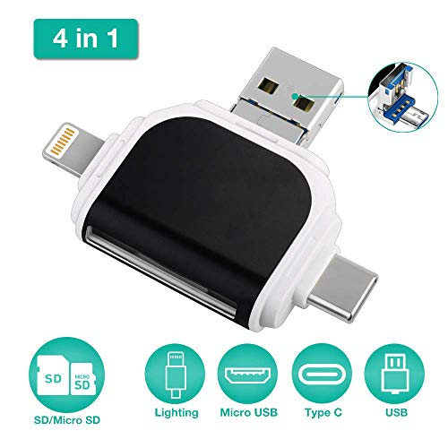 Microware Micro SD 4 in 1 Card Reader Compatible with i Phone/Android Phone/i Pad/Computer/Laptop/Mack-Book/Surface, SD Card Adapter for Micro USB,USB C,Type C,Trail Game Camera Viewer 4 in 1 (Black)