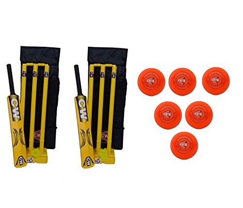 Master Blaster Cricket Complete Set Heavy Duty Plastic Street ,Playground,Park, Beach,Gully,Garden Summer -Winter Special Sports Cricket Kit Yellow Indoor/Outdoor/Home Kiddy Pack For Kids/Child/Little Champion Junior Ideal For 5 to 12 Yr & Above Players With Six Orange Wind PVC Synthetic Balls Complete Pack Free Carry Case (Size 5 Ideal For 9-10 Yr Child)