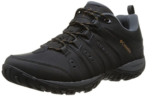 Columbia Woodburn II, Zapatillas de Senderismo, Impermeable para Hombre, Negro (Black, Caramel), 43 EU