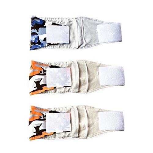 POPETPOP 3pcs maschio pet cane pancia avvolgere banda pannolino pannolini pantaloni cucciolo biancheria intima sanitaria - taglia XL (modello casuale)