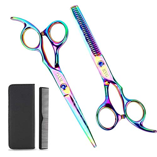KYG Set di Forbici Professionali da Parrucchiere Barbiere 6 pollici in Acciaio Inossidabile per Taglio Sfoltimento Colorato con Pettine Custodia