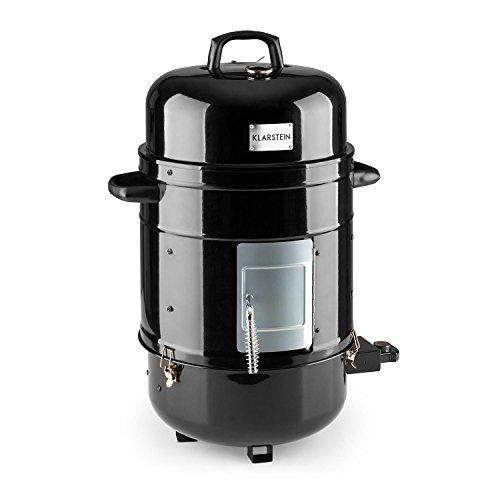 KLARSTEIN Barney - 3-in-1 Barbecue, Grill Elettrico, Smoker Affumicatore, 1800 Watt, 3 Piani con 40 cm di Diametro, Riscaldamento Regolabile di Continuo, Termometro Integrato, Nero