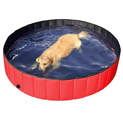 Yaheetech Hundepool Doggy Pool Haustierpool Katzenpool Schwimmbad Wasserbad PVC-rutschfest mit Ablassventil Ø160x30(H)