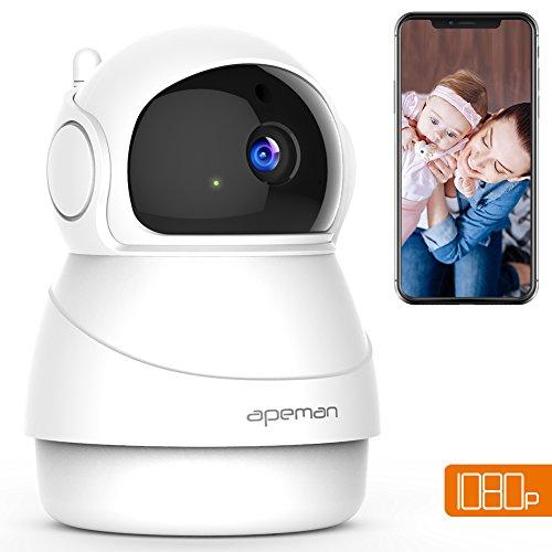 Apeman 1080P Telecamera Sorveglianza WiFi Interno, Videocamera IP Wireless,Visione Notturna a...