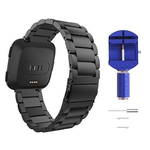 MoKo Cinturino per Fitbit Versa/Versa Lite Edition/Versa Special Edition Watch, Braccialetto Ricambio in Acciaio Inossidabile, Adatto per Polso 5.51'-8.28', Nero