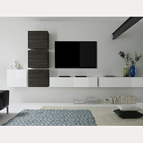 NOUVOMEUBLE Mobile TV da Parete, Design Bianco e Colore wengé Capena