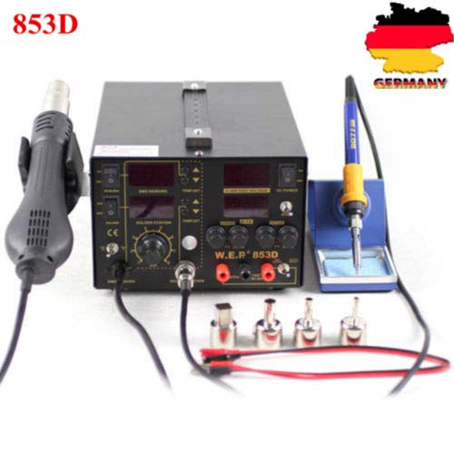 3 in 1 Digital Lötstation 853D YUNRUX Lötkolben Heißluft Lötkolben Heißluftlötstation 5A für Platinen Handy Mobil Entlötstation Soldering Iron Entlötkolben